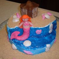 Mermaid Cake For my daughter's 7th birthday...she picked out everything. Even told me how to to the mermaid. Not my favorite but she helped and she...