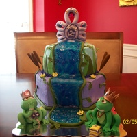 The Frog Prince Frog Prince/Princess themed birthday cake done for my niece Viviana. Gumpaste rhinestone tiara and frogs.. Butter cake with buttercream...