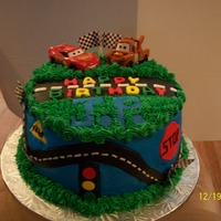 Cars This is a cake done for a child that LOVES the movie CARS. Thanks for looking