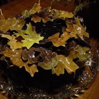 Autumn Cake double dark chocolate cake with dark chocolate filling, double-dark chocolate frosting with gum paste leaves (this pics shows the cake...