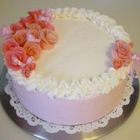 Birthday Cake royal frosting roses, white cake, raspberry filling with buttercream frosting