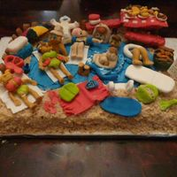 "Pool Beach Cake Family Reunion  Here is a beach/pool cake I did for a family reunion. The name means ""from a pool"" so that's why I wanted a pool cake and..."