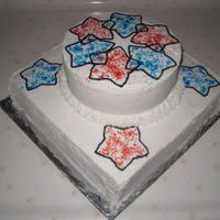 Fourth Of July Cake Simple 4th cake. White with red and blue sparkle stars.