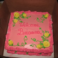 Pink And Yellow Roses baby shower cake