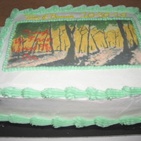 Through The Trees I Found The One this is an edible image of art work the groom had painted and photo shopped the words on top. Caramel apple cake with caramel filling,...