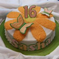 Sweet 16 Cake W/ Butterflies White cake w/ strawberry filling, buttercream icing & color-flow/run-in butterflies & lettering. Time consuming, but the birthday...