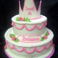 Sweet 16 All buttercream with gumpaste crown.