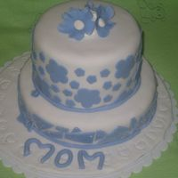 Blue Mosaic For Mothers Day. I made 2 cakes for mothes day, this one for my mother in law, other one for my mom, this one all fondant decorations,yellow cake, peaches...