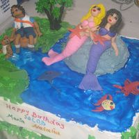Go Diego Go And The Mermaids  Birthday cake for my friend's 3 kids, 2 little girls and a boy...she celebrated their birthdays together...he loves Diego,the girls...