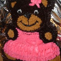 Ballerina Bear this cake was my first one made with a shaped pan,it is a german chocolate and buttercream icing...it was delicious...a little to much...