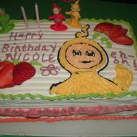 Teletubbies Birthday Cake my girl loves teletubbies, so I made a cake with la-laa..( yellow teletubbie) it was my first cake!!! It wasnt difficult, I made it for her...