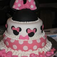 "Minnie Mouse Pink Made for my two years old girl birthday : sophia.Two layers, 10"" and 8"" round and top is the half ball of wilton,al decorations..."