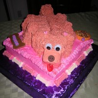 Dog Birthday Cake The dog is made out of pound cake and covered in buttercreme. The eyes are plastic (I was running out of time to make real eyes). The nose...