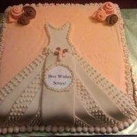 Bridal Shower Cake WASC cake w/Earlene's Cream Cheese Icing - fondant wedding dressInspired by Loide.........thanks!