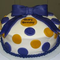 Lsu Polka Dot W/ Bow Birthday iced in buttercream, fondant accents, bc bead border