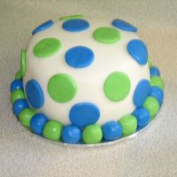 Blue And Lime Green Polka Dot Cake Polka dot smash cake covered in fondant with fondant accents