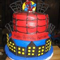 "Spiderman Birthday Inspired by so many on cc.... 8"" &10"" rounds covered in bc, fondant buildings, moon, and ribbon; ri webs; figure is a candle..."