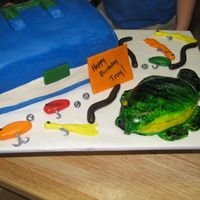 Tackle Box Cake Tackle box cake, blue top is fondant, white is bc. Bass is cake covered in fondant. Fondant fishing lures, dusted the sinkers and hooks w/...