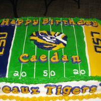 Lsu Football Birthday 11x15 iced in buttercream. FBCT eye of the tiger, and lsu's. Fondant letters.
