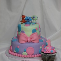 Blues Clues Polka Dot 1St Birthday choc cake covered in fondant with fondant accents, toy toppers, made to match table cloth and other party decor, king size smash cupcake...
