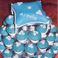 Cupcakes With Pillow Cake This was for my sister's birthday. I designed the whole cake so I could try out Boonenati's gumpaste shoe, but it turned out...