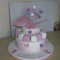 Butterfly Christening Cake  This was adapted from a picture provided by the customer, changed to suit what she wanted. All fondant. Blocks are cake covered with...