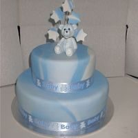 Blue Marbled Christening Cake This was my first christening cake. It was made as an example and my sister's boyfriend ended up with it as a birthday cake!! Fondant...