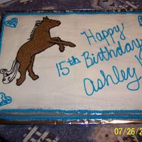 Horse Birthday This was a 12 x 18 chocolate sheet cake made for a friend's daughter. I traced/impressioned/free-handed, lol, the horse. The daughter...
