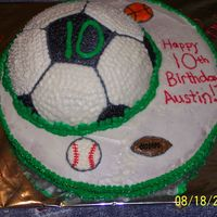 Soccer Sports Cake  This cake was made with a 12 in chocolate base and white for the soccer ball. I used mini cookie cutters to make other ball impressions in...