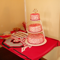 Osu Wedding Cake This was for my friend's casual Ohio State themed wedding reception. 3 double layer tiers of white cake, buttercream icing with...