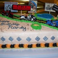 Randys_Cake_003.jpg I made this Harley Cake for a friend for his Birthday. I used Triple Chocolate with the Irish Cream oil. Buttercream Icing, Crushed Oreos...