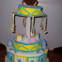 Baby Shower Cake This was a very hard cake to do and this was a last minute cake.I had to rig the middle section for the cake and then the top of the pole...