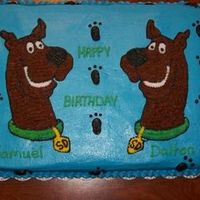 Scooby Cake For Twins I done this cake for twins boys. It is a 12x18 chocolate cake