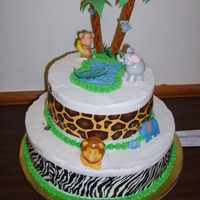 Jungle/safari  palm tree is made out of pretzel, fondant leaves cut outs big animals are plastic, smaller animals are mini digital E.I. plaques (alligator...