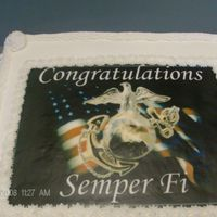 Marine Corps Graduation Cake I live near Camp Lejeune, so I get alot of requests for edible graphics using the USMC theme for retirements, graduations, Welcome Home,...