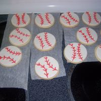 Baseball Cookies NFSC, MMF, buttercream stitching. Need to learn how to do the whole royal icing thing. Made for my sons baseball game (which was cancelled...
