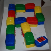Lego Bday mini cakes covered in fondant as legos.