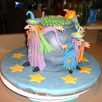 Witches Brew Cake and fondant, witches are gumpaste and fondant.
