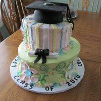 Happy Graduation  This was a graduation cake I made for my niece.Topsy turvy cake with fondant accents. I got to use my new toy (clay extruder) to make the...