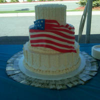 Stars And Stripes  I did this for a military couple's wedding. It was a 7, 9, and 14 inch tiered cake. I placed fondant stars and buttercream stripes on...
