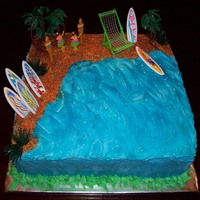 Julia's Hawaian Theme Birtday Cake   My niece turned 7 had a Hawaian themed birthday party, the sand is colored sugar and I used blue gel for the water