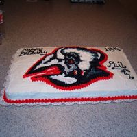 Birthdays_001.jpg   Nephew wanted Sabres cake. Done in 2006 before they changed there logo!