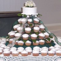 Wedding Cupcake Tower   I made these cupcakes for a co-worker's wedding. It was outdoors on a ranch and she wanted it simple.