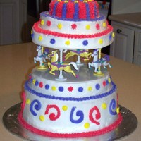 Carousel Cake I made this cake for my daughter's 4th birthday carnival party. Each layer is a different flavor. It is iced in buttercream frosting....