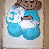 Baby Monkey Shower Cake  This cake was made for a monkey themed baby shower. It is iced with Frosting Pride whipped icing. This cake pan is actually a baby bear...
