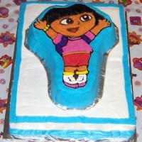 Dora The Explorer I made this for my daughter's 3rd birthday. All buttercream icing.