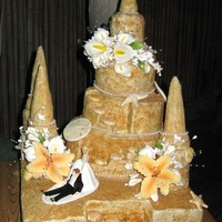 Sand Castle Wedding Cake Sand Castle Wedding Cake ; that I made for my Son's Beach Wedding . All buttercream icing , dusted with crushed graham crackers &...