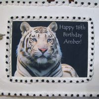 White Tiger Birthday Cake Made this cake for my Daughter's 18th Birthday . White Tigers are her favorite animals . All buttercream icing with an edible print ....