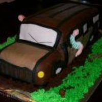 Station Wagon Chocolate cake with strawberry filling, chocolate buttercream, chocolate mmffondant accents