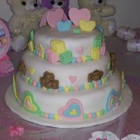 Bear And Heart Baby Shower Cake